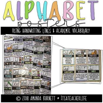 Alphabet Posters | Handwriting Lines & Academic Vocabulary