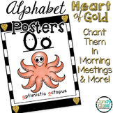 Alphabet Posters with Pictures: Black and Gold Classroom Decor