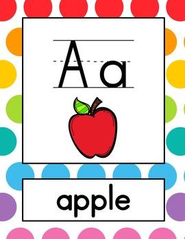 Alphabet Posters - Jumbo Rainbow Dots