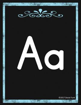 #roomdecor Classroom Decor Alphabet Posters - Black Chalkboard - Italics