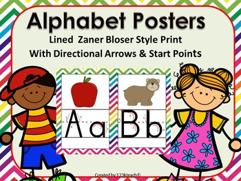Alphabet Posters Lined Zaner Bloser, Directional Arrows, Chevron