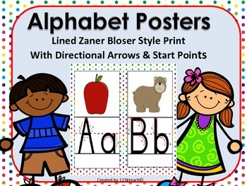 Alphabet Posters Lined Zaner Bloser, Directional Arrows, Start Points