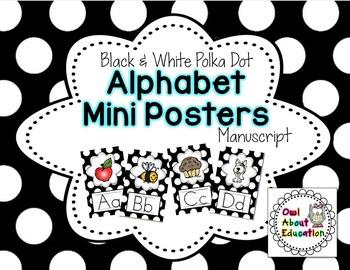 Alphabet Posters - Manuscript {Black & White Polka Dot}