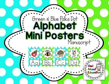 Alphabet Posters - Manuscript {Blue & Green Polka Dot}
