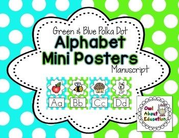 Alphabet Posters - Manuscript {Blue & Green Polka Dot}