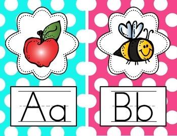 Alphabet Posters - Manuscript {Bright Polka Dot}
