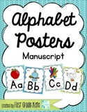 Manuscript Alphabet Posters for Classroom Decor (Green, Teal, & Blue)