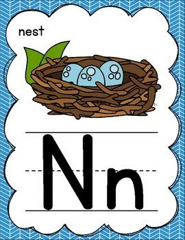 Green & Blue Manuscript Alphabet Posters for Classroom Decor