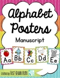 Manuscript Alphabet Posters for Classroom Decor (Rainbow)