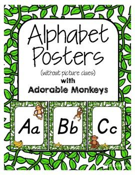 Classroom Decor Alphabet Posters - Monkeys - Primary Italics