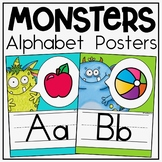 Alphabet Posters and Bunting in a Monsters Classroom Decor Theme