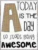Alphabet Posters | Motivational Quotes | Burlap, Black & White w/ Shiplap Trim