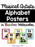 Alphabet Posters: Musician Style | Watercolor | Rainbow | Decor | Back to School