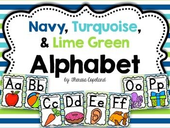 Alphabet Posters {Navy, Turquoise, Lime Green}