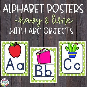 Alphabet Posters Navy and Lime with ABC Objects