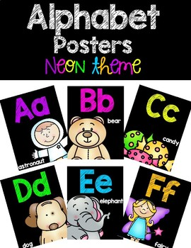 Alphabet Posters - Neon Chalkboard Theme