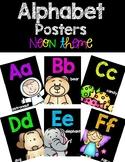 Alphabet Posters - Neon Chalkboard Theme