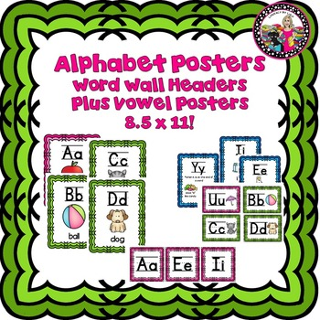Alphabet Posters! Neon with Matching Headers for Word Wall
