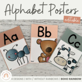 Modern BOHO RAINBOW Alphabet Posters   EDITABLE Neutral Rainbow Classroom Decor