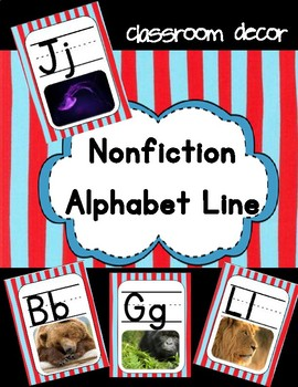 Alphabet Posters - Nonfiction Version with Red and Blue Stripes