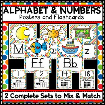 Alphabet Posters Number Lines Primary Colors
