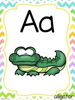 Alphabet Ten Frame Posters Neon Chevron