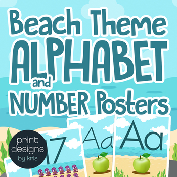 Alphabet Posters, Number Posters, Word Wall Headers in Beach Theme