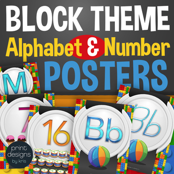 Alphabet Posters, Number Posters, Word Wall in LEGO Theme - Classroom Decor