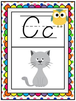 Alphabet Posters ~ Owls & Polka Dots! A-Z Teacher Treasure Hunter