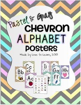 Alphabet Posters - Pastel & Gray Chevron