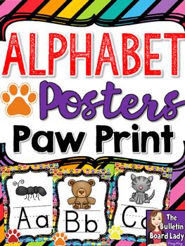 Alphabet Posters Paw Print Theme
