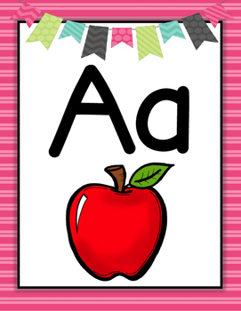 Alphabet Posters-- Pink Stripe Pattern