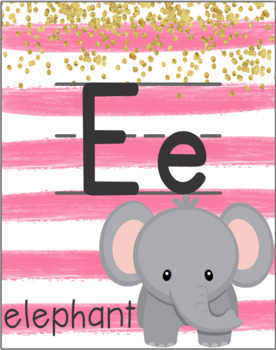 Alphabet Posters (Pink Striped)