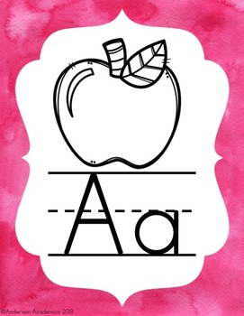 Alphabet Posters - Pink and Blue Watercolor Theme