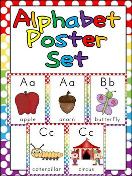 Alphabet Posters- Polka Dot Background- Full-Page and Half-Page Sized