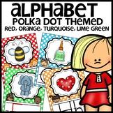 Polka Dot Print Alphabet Posters (Colors orange, turquoise