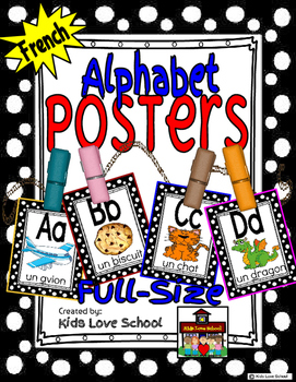 Alphabet Posters-Polka Dots-FRENCH Version with Picture /Word-FLS or Immersion