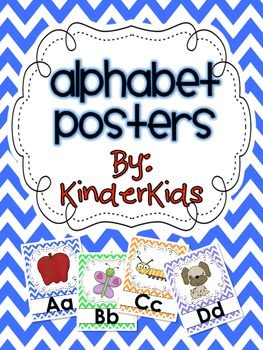 Alphabet Posters:  Primary Chevron Backgrounds
