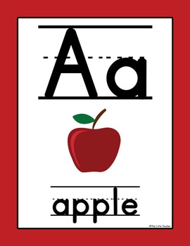 Alphabet Posters Primary Lined Text - Bright Colors - Grades Pre-K, K, 1, 2