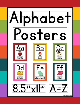 Alphabet Posters Primary Lined Text - Bright Colors - Grad