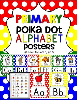 Alphabet Posters - Primary Polka Dot