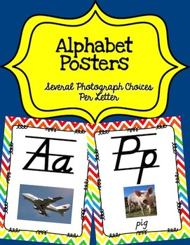 Alphabet Posters D'Nealian (Lined with Chevron)