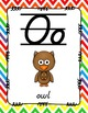 Alphabet Posters D'Nealian {Lined with Chevron Background}