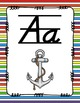 Alphabet Posters D'Nealian {Lined with Striped Background}