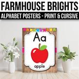 Alphabet Posters Print & Cursive, Modern Farmhouse Classroom Decor
