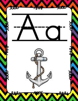 Alphabet Posters Print-Lined {Black Chevron}