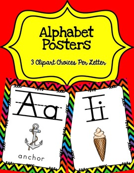 Alphabet Posters Print-Lined {Black Chevron}