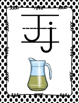 Alphabet Posters Print-Lined {Black Polka-Dots}