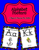 Alphabet Posters Print-Lined {Black Rainbow Polka-Dots}