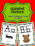 Alphabet Posters Print-Lined {Navy and Lime Green}